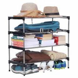 Black Stainless Steel Shoe Racks, Shoe Rack Capacity: 12, 4