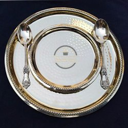 Silver Round Brass Maharaja Thali Set