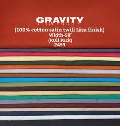 Gravity 100% Cotton Satin Twill Liza Finish Shirting Fabric