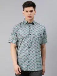 Printed Collar Neck Millennial Men Blue Cotton Short Sleeves Shirts For Men, Handwash, Size: 38-50
