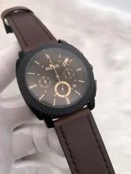 Round Black Fossil Watch For Man, For Personal Use