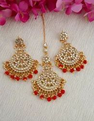 Red Colour Gold Finish Styled With Beads Fancy Earrings With Maang Tikka