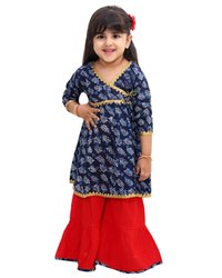 Cotton Stitched Indigo Anarkali With Sharara, Dry clean