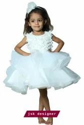 Women Embroidered White Party Wear Kids Frock