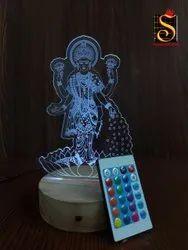 SHAYONA Laxmi mata Color 3D Illusion LED Acrylic Table top Night Lamp