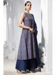 Blue Poly Muslin Kurta With Palazzo And Dupatta( J0230)