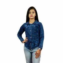 Collar Neck Girls Blue Denim Jacket