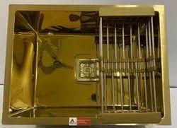 Single Bowl Stainless Steel Handmade Sink (24 X 18 X 10, Gold Mirror)