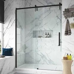 Swing Plain Shower Glass Door, For Home,Hotel, Thickness: 12 Mm