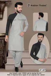 Party Grey,Black Men Trendy Pathani Suit