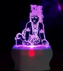 Shayona Loard Krishna Multi Color 3D  Illusion LED  Acrylic Night Lamp
