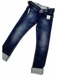 Casual Wear Plain Men Denim Blue Jeans, Size: 34