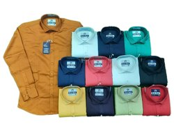 Blue Army Full Sleeves Men Formal Wear Plain Shirt