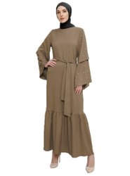 Pearl Work Women Regular Wear Nida Abaya Burqa With Belt Style
