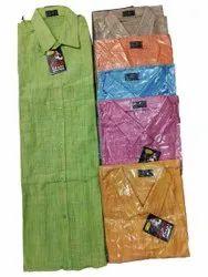 Collar Neck Men Plain Cotton Casual Shirt