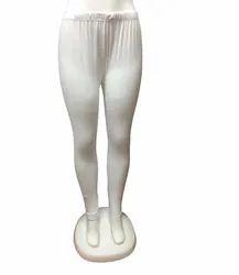 White Cotton Lycra Leggings, Size: Free Size