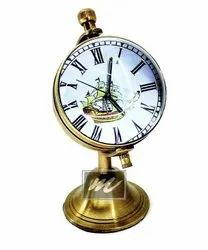 M.A & SONS Antique Globe Stand Solid Brass Table Clock 1 Year Replacement Warranty