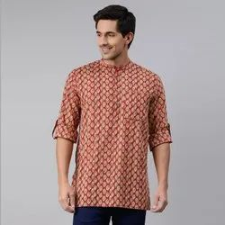 Janasya Men's Red Cotton Kurta(MEN5027)