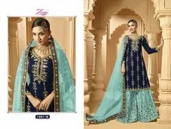 Georgette Semi-Stitched Wedding Wear Embroideried Worked Plazo Style Suit - Fiona 1001