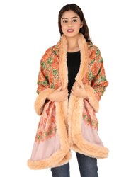 Embroidered Stole With Faux Fur Trim
