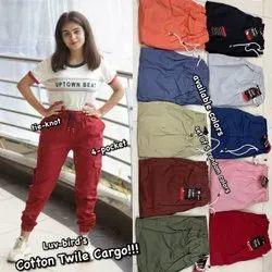 Cotton/Linen Strachable ladies jogger pant, Size: Free Size