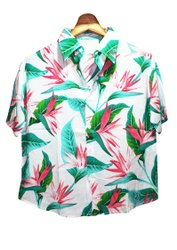 Womens Hawaiian Shirt, Aloha Shirt, Womens Beach Shirt, Print Shirt Button Down Patterned