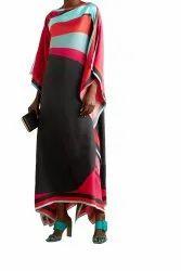 Daily Wear Calf Length Women Printed Satin Silk Fabric Kaftan Kurta