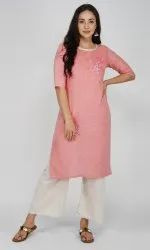 Pink Women Embroidered Cotton Blend Straight Kurta