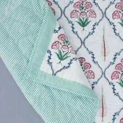 Cotton Floral Hand Block Print White Base Pink Printed Double Bed Reversible Jaipuri Rajai