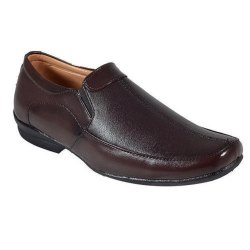 Casual Brown Mens Slip On Synthetic Leather Shoes, Size: 6