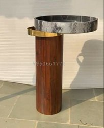Brown Stone Pedestal Wash Basin, For Bathroom