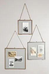 Golden Hanging glass photo frames, For Decoration