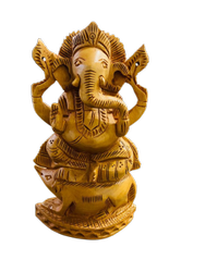 Ganesh Ji wooden Murti 6 inch Sitting on Rat