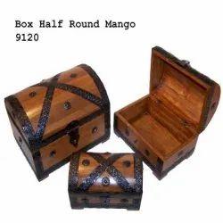 Brown 9120 Half Round Mango Wooden Box Set, For Storage