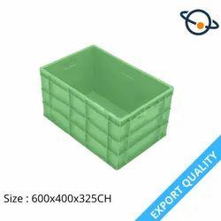 Green Rectangular HDPE Plastic Crate, Capacity: 66 Liters, Size: 600x400x325 mm