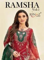 Rinaz Fashion Ramsha Vol-5 Faux Georgette Pakistani Style Salwar Kameez Catalog