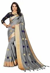 Offline Selection Printed Embroidered Daily Wear Jacquard Grey Saree, With Blouse Piece, 5.5 M ( Separate Blouse Piece)