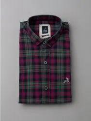 Roman Island Multicolor Twill Check Shirts, Handwash, Size: S M L