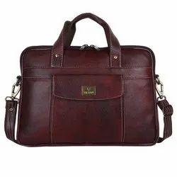 Maroon Plain Briefcase Messenger Bag