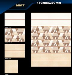 Ceramic Rectangular Bathroom Wall Tiles, Thickness: 6 mm
