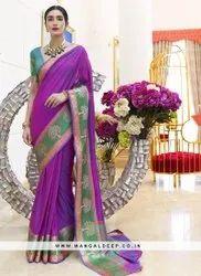 Mangaldeep Printed Ladies Festive Wear Silk Saree, Without blouse piece, 5.5 m (separate blouse piece)