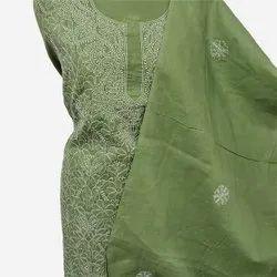 Party Wear Straight Chikan Salwar Suit, Machine wash