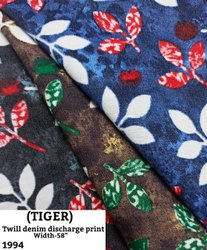 Tiger twill denim discharge print shirting fabric