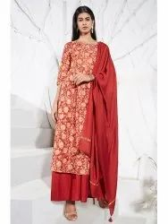Janasya Women's Rust Poly Muslin Kurta With Palazzo And Dupatta(J0235)