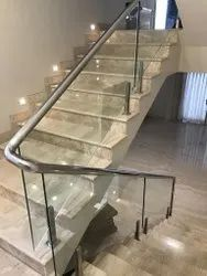Silver SS Staircase Glass Railings, For Home, Mounting Type: Floor