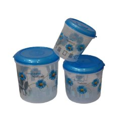 Blue Kitchen Storage Plastic Containers, Round
