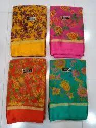 Pure Chiffon Floral Print Saree With Blouse Satin Border