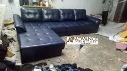 Dark Grey Leather Sofa Set With Longer And Rekron Back Pillow, For Home