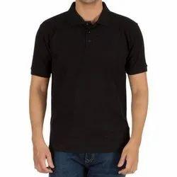 Half Sleeve Black 100 Cotton Pique Tshirt