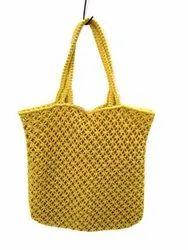 Cotton Ladies Yellow Crochet Ethnic Hand Bags, Size: 13x13 Inch, Capacity: 2 Kg